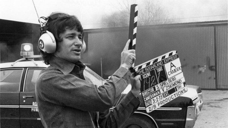 Spielberg at the location of The Sugarland Express on March 1, 1973.