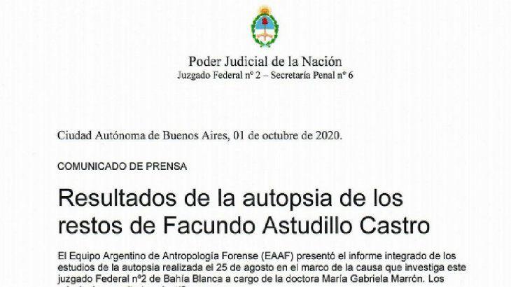 El juzgado federal N°2 dio a conocer detalles de la autopsia al cuerpo de Facundo Astudillo Castro.