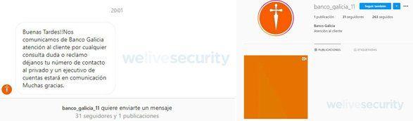 Las estafas consisten en sacar información a clientes de distintos bancos, como puede ser Banco Galicia, mediante cuentas falsas de Instagram.