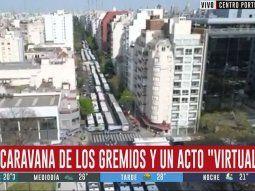 cientos de colectivos, camiones y autos concentran en la 9 de julio por el dia de la lealtad