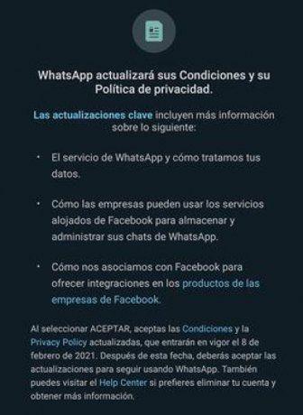 """Los nuevos """"términos y condiciones"""" de WhatsApp."""