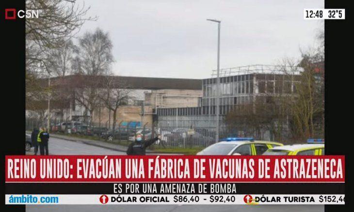 Alerta de bomba en fábrica de vacunas de AstraZeneca en GB