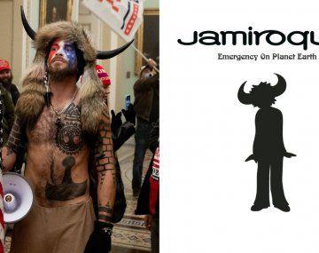 Lasemejanza entre el manifestante identificado como Jake Angeli y la tapa deldisco de Jamiroquai.