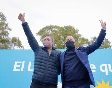 El intendente de Lomas de Zamora, Martín Insaurralde y el presidente del bloque de diputados nacionales del Frente de Todos, Máximo Kirchner, en Lomas de Zamora.