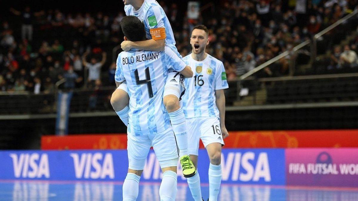 Futsal: Argentina eliminó a Rusia en los penales y jugará semifinales con Brasil