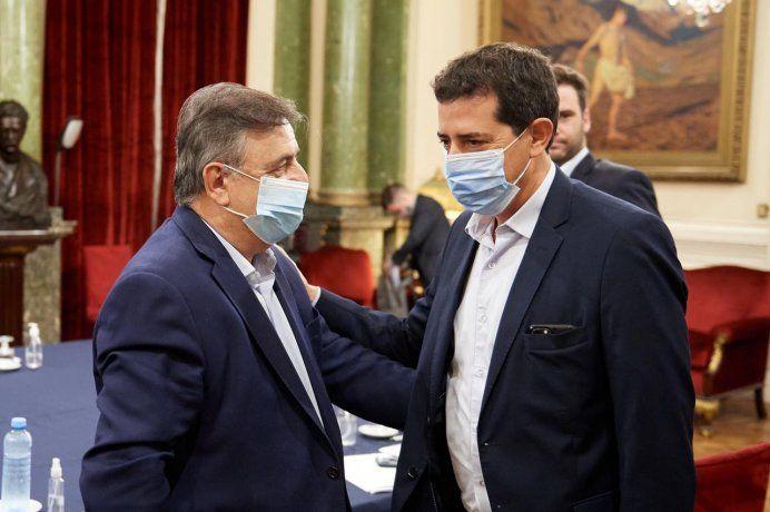 Negri y De Pedro durante la reunión de ayer en el Congreso.