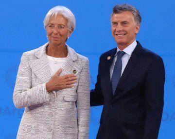 El expresidente Mauricio Macri con la entonces titular del FMI, Christine Lagarde.