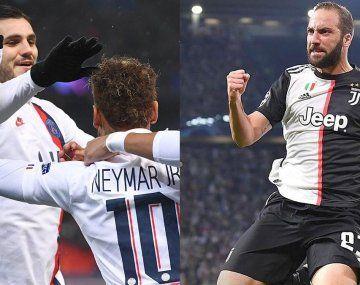 Mauro Icardi y Gonzalo Higuaín convirtieron para PSG y Juventus, respectivamente.