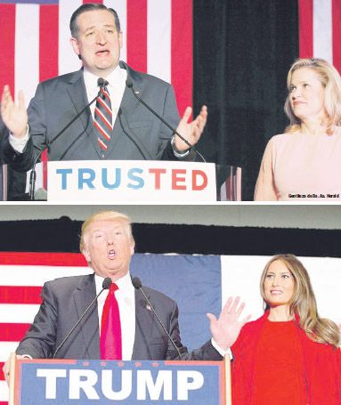 Ted y Heidi Cruz (izquierda) descalificaron a Donald Trump