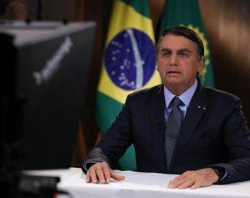 El presidente de Brasil, Jair Bolsonaro, al grabar su mensaje para la 75 Asamblea General de la ONU.