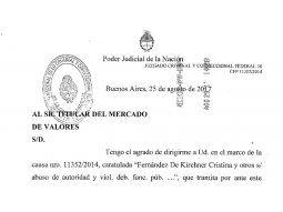 Piden información a agentes del mercado sobre cuentas y acciones de Cristina
