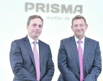 Anuncio. Juan Pablo Zucchini (izq), de Advent International, y Diego Maffeo, CEO de Prisma, ayer en la sede ubicada en Parque Patricios.