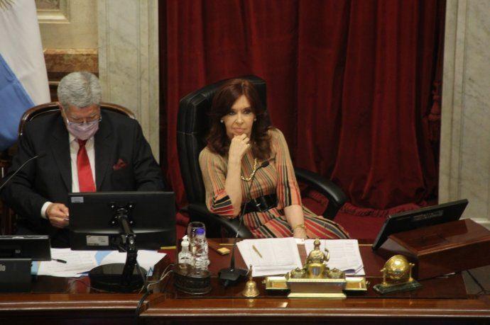 Cristina Fernández de Kirchner podría desempatar la votación en caso de igualdad. Su voto sería verde.