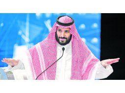 """DISCURSO. El príncipe heredero Mohammed bin Salman habló ayer ante la audiencia de la """"Davos del Desierto"""", que sufrió el boicot de empresas occidentales."""