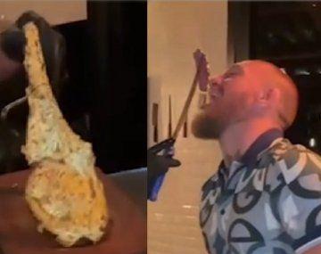 Video: el exótico filete dorado que se comió McGregor en Dubai