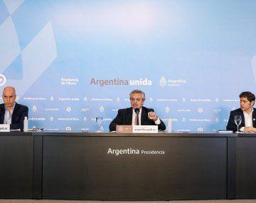 Conferencia de prensa del presidenteAlbertoFernándezjunto al gobernador de la provincia de Buenos Aires, Axel Kicillof y el jefe de Gobierno porteño, Horacio Rodríguez Larreta, en la Residencia Presidencial de Olivos.