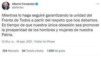 Los 8 tuits de Alberto Fernández en medio de la crisis interna