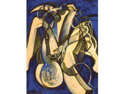Una de las obras de la Serie Azul, de Wolf Vostell (1932-1998), artista que los argentinos conocieron gracias al CAYC.