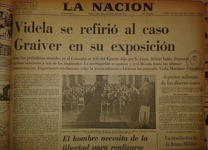 El 20 de abril de 1977 La Nación también informó desde la tapa la conferencia de prensa de Videla.