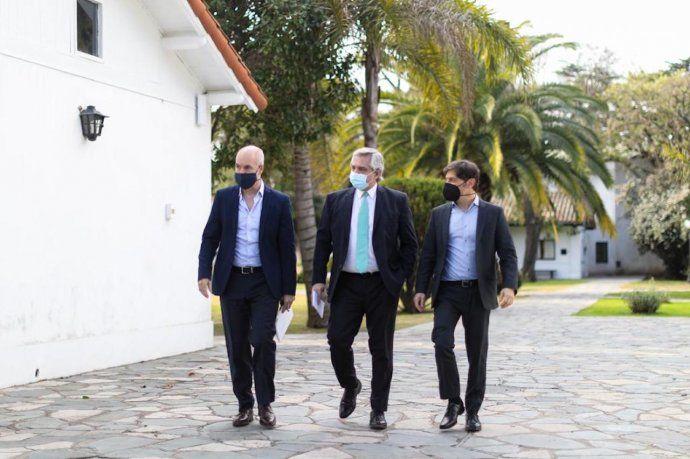 El presidente Alberto Fernández junto al gobernador bonaerense, Axel Kicillof, y el Jefe de Gobierno de la Ciudad de Buenos Aires, Horacio Rodríguez Larreta. Una postal habitual de la primera mitad de 2020.