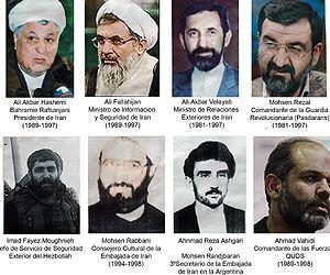 Funcionarios iraníes sobre quienes recae el pedido de captura emitido por la Justicia argentina.
