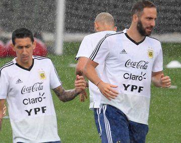 Higuaín, entrenando con la Selección durante el Mundial de Rusia 2018.