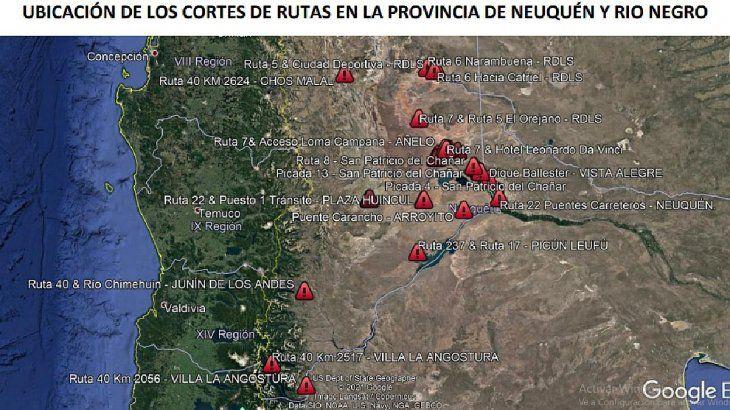 Localización de los piquetes en Neuquén y Vaca Muerta según alertaron los trabajadores petroleros.