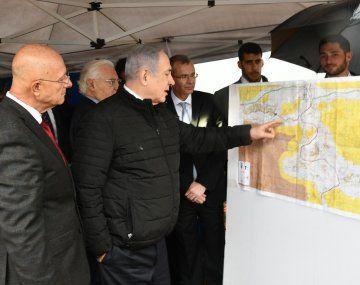 El primer ministro israelí, Benjamín Netanyahu, en la colonia de Ariel, la mayor de Israel.