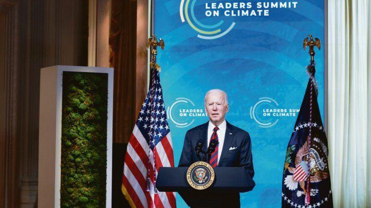 AL FRENTE. Joseph Biden orientó desde la Casa Blanca la cumbre virtual sobre cambio climático