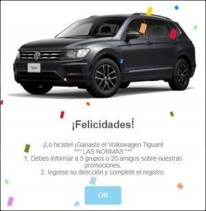 La Ingeniería Social asociada a este engaño indica que el usuario es ganador de un automóvil.