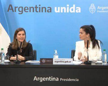 Las titulares de ANSES, Fernánda Raberta y de PAMI, Luana Volnovich en Casa Rosada.