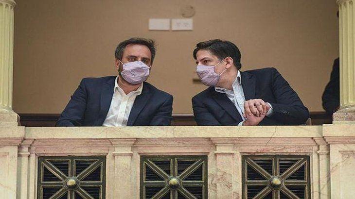 Cabandié y Trotta en la sesión en el Senado.