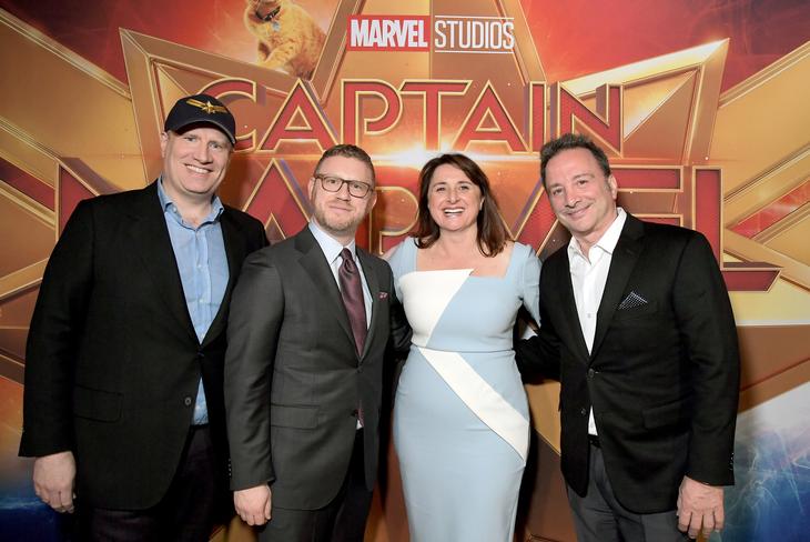 Las cabezas de Marvel: Kevin Feige, el productor Jonathan Schwarz, Victoria Alonso y el co presidente Louis D'Esposito