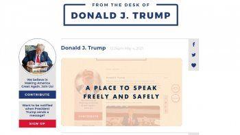 trump lanzo su propia plataforma tras el veto de facebook y twitter