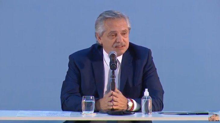 Alberto Fernández durante el acto del Plan Gas.Ar. (Imagen de TV)