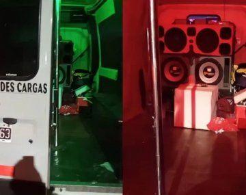 Desactivan fiesta clandestina adentro de una camioneta transformada en boliche con luces y caño para bailar