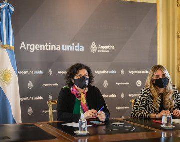 La ministra de Salud, Carla vizzotti, junto a la asesora presidencial, Cecilia Nicolini.