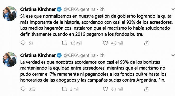 activa. La vicepresidenta Cristina de Kirchner mostró ayer en Twitter su pensamiento