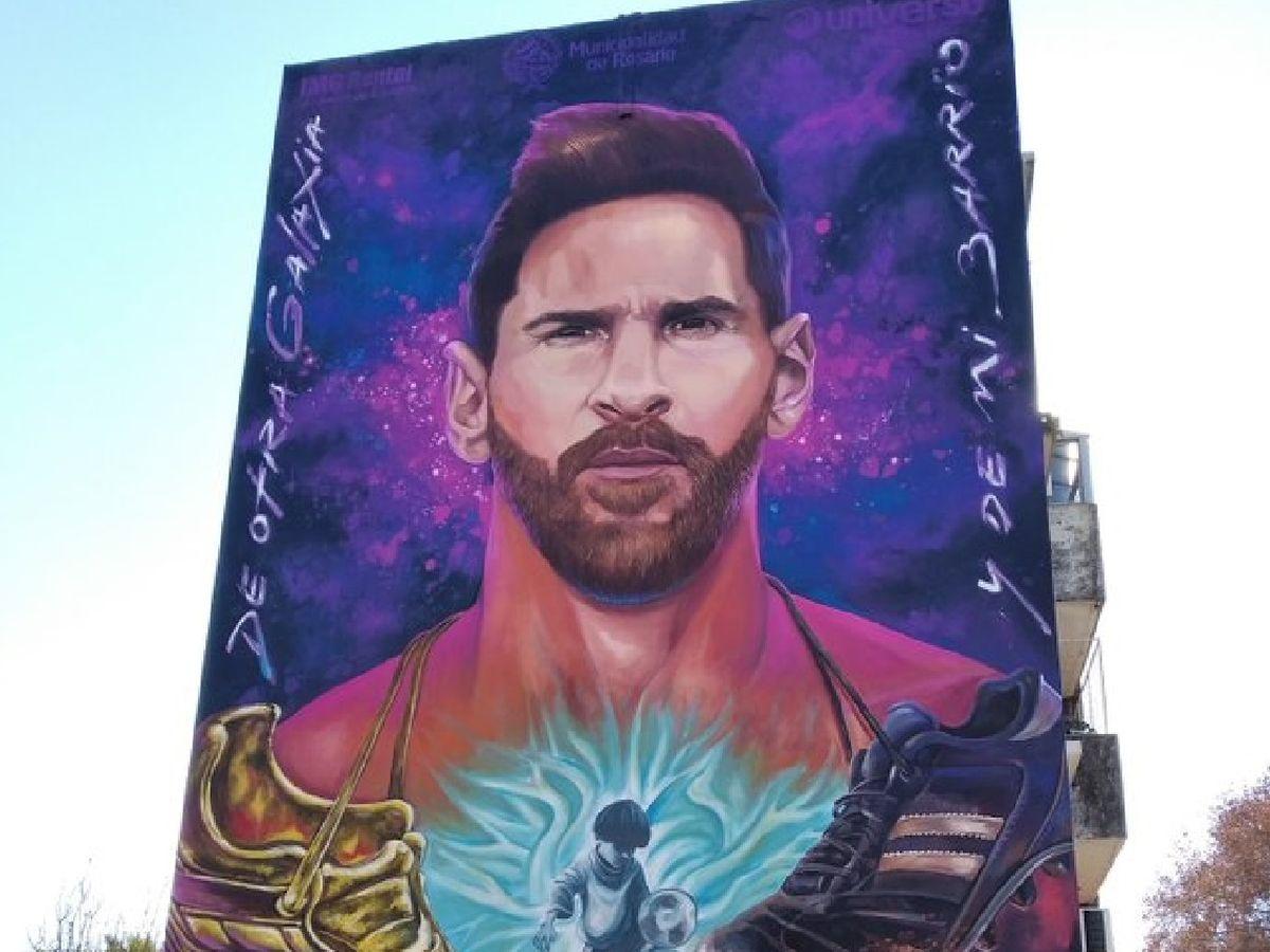 Inauguran un mural de Messi frente a su escuela en el barrio La Bajada de  Rosario
