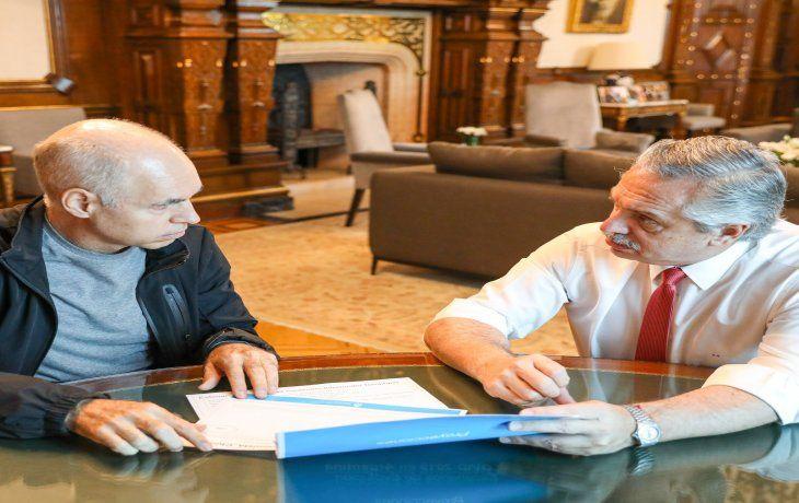 El presidente Alberto Fernández y el jefe de Gobierno porteño