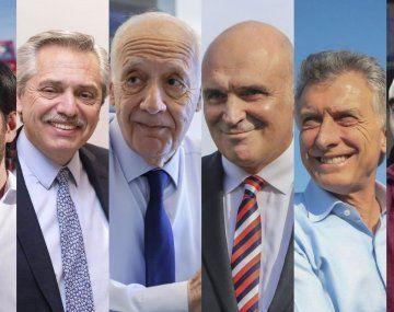 Candidatos 2019. Del Caño, Fernández, Lavagna, Espert, Macri y Gómez Centurión.