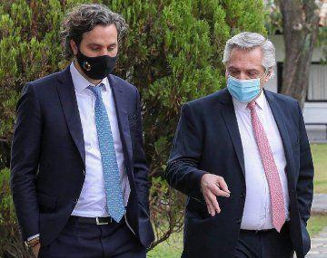 Alberto Fernández y Santiago Cafiero en la Quinta de Olivos.