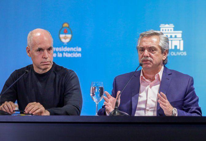 Horacio Rodríguez Larreta y Alberto Fernández. (Foto de archivo).