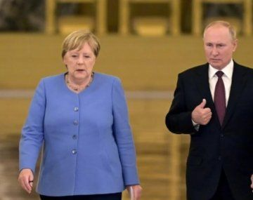 Angela Merkel y Vladimir Putin.