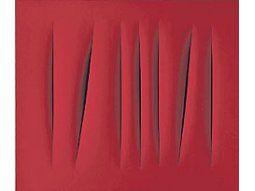 Una de laspotentesobras de laserie«ConcettoSpaziale» deLucioFontana,quien consus «tajos»revolucionóla pinturamoderna.