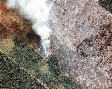 Verde, humo y gris. A la izquierda de la foto aérea se ve selva tupida en una región de la Amazonia brasileña, en el medio un incendio de enormes proporciones y a la derecha, una zona totalmente deforestada.