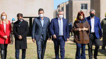 El Frente de Todos mostró una foto de unidad, durante un acto de Alberto Fernández, Cristina Fernández, Axel Kicillof y Sergio Massa.