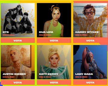 Los nominados a mejor artista pop.