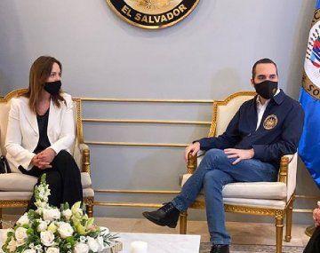 María Eugenia Vidal y el presidente salvadoreño Nayib Bukele.