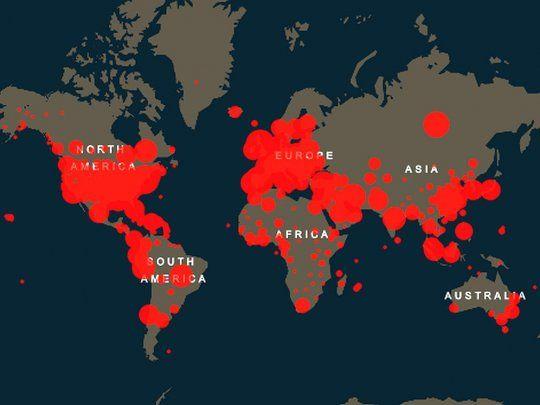 Mapa Mundial : Cada país tem os dados: